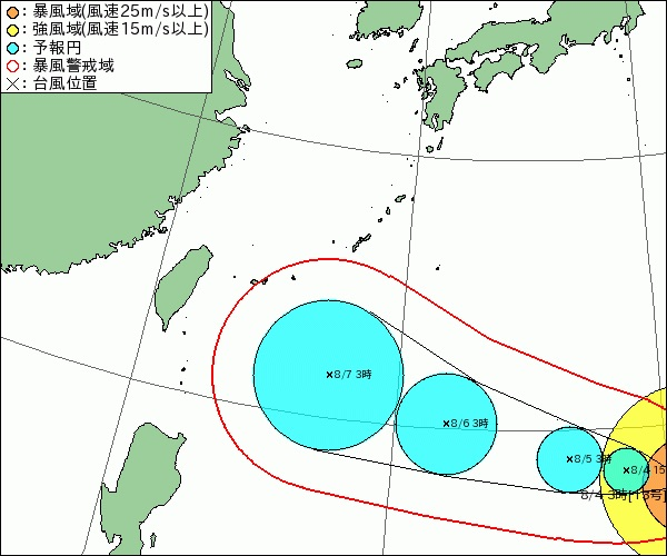台風13号の進路図