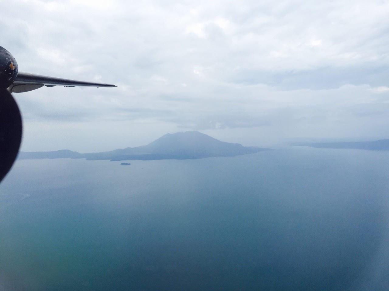 飛行機から見る桜島