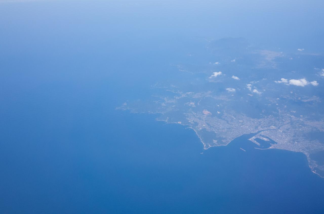 飛行機から見る薩摩半島最南端