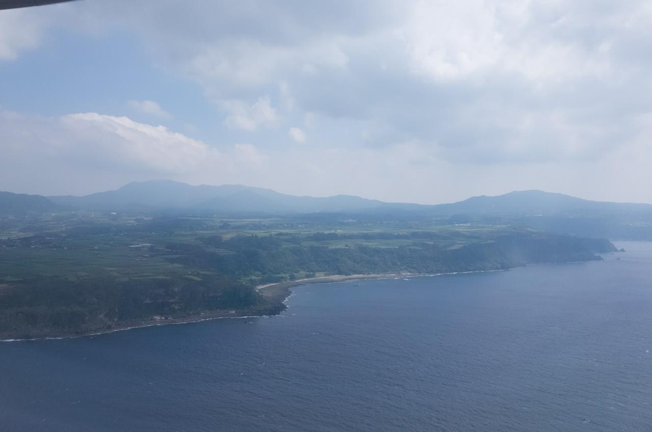 飛行機から見る徳之島の千間海岸