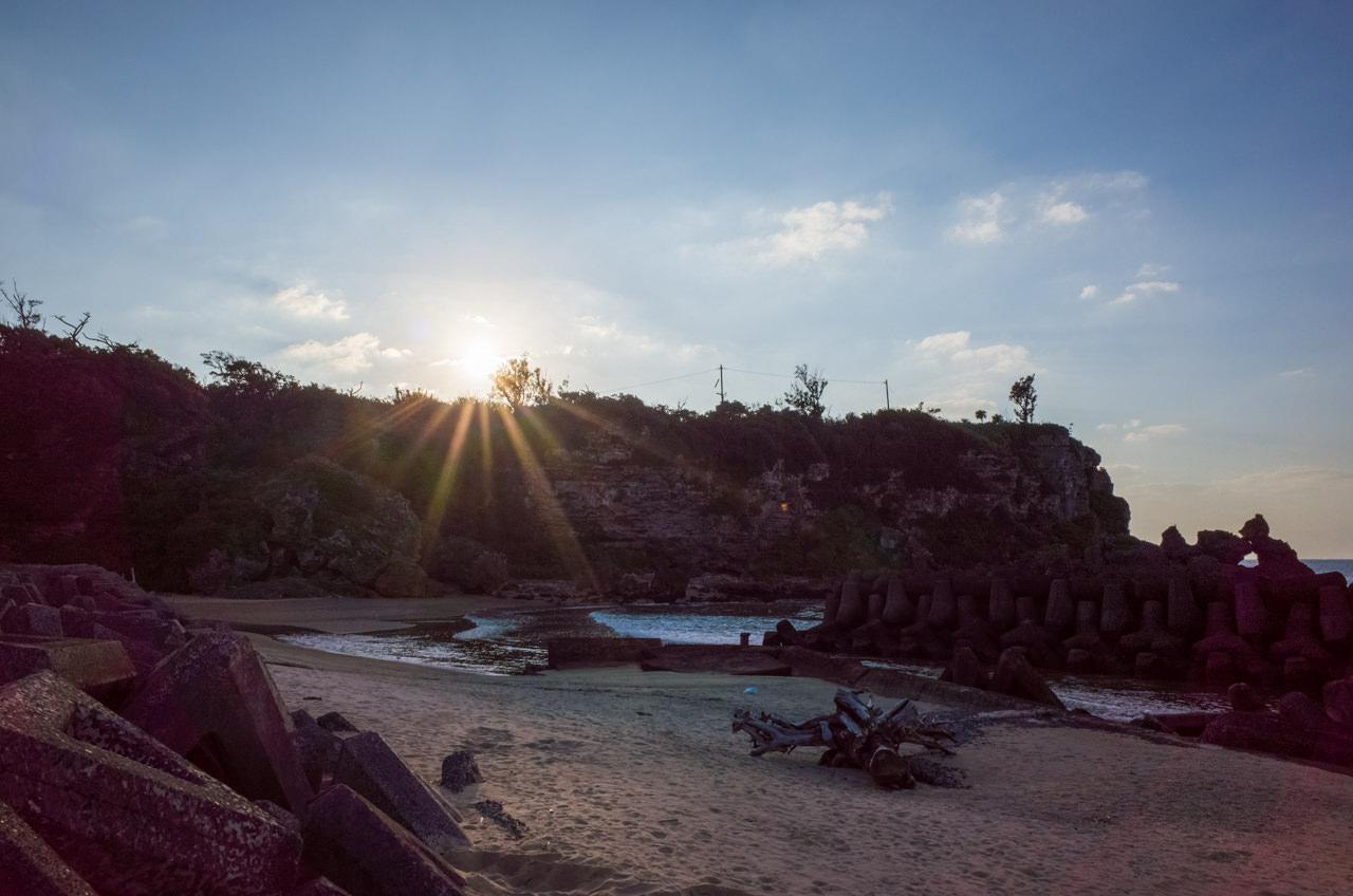 平土野漁港での夕陽