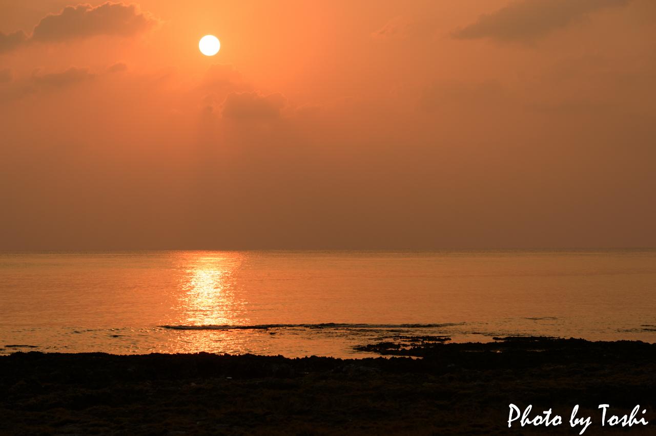 徳之島-千間海岸の夕日-1