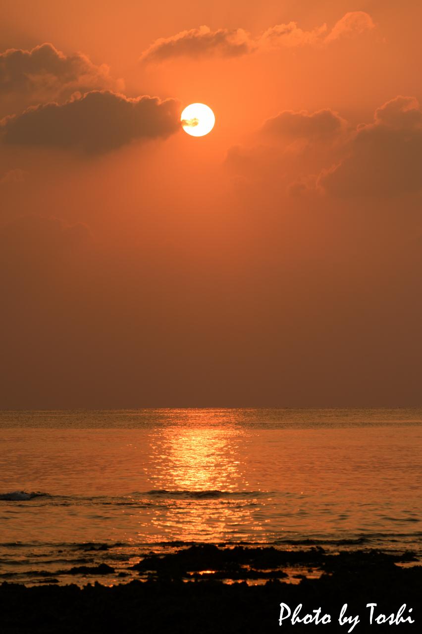徳之島-千間海岸の夕日-2