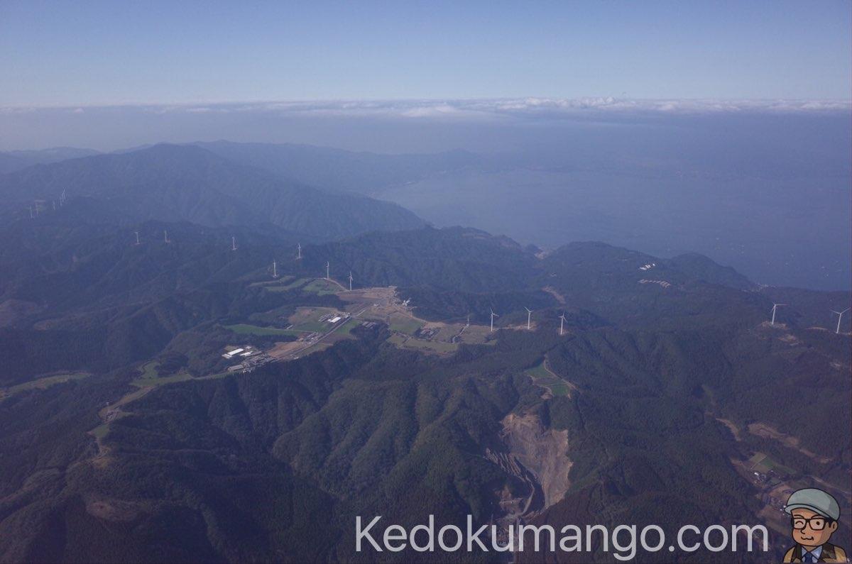 飛行機から見た鹿児島の風景