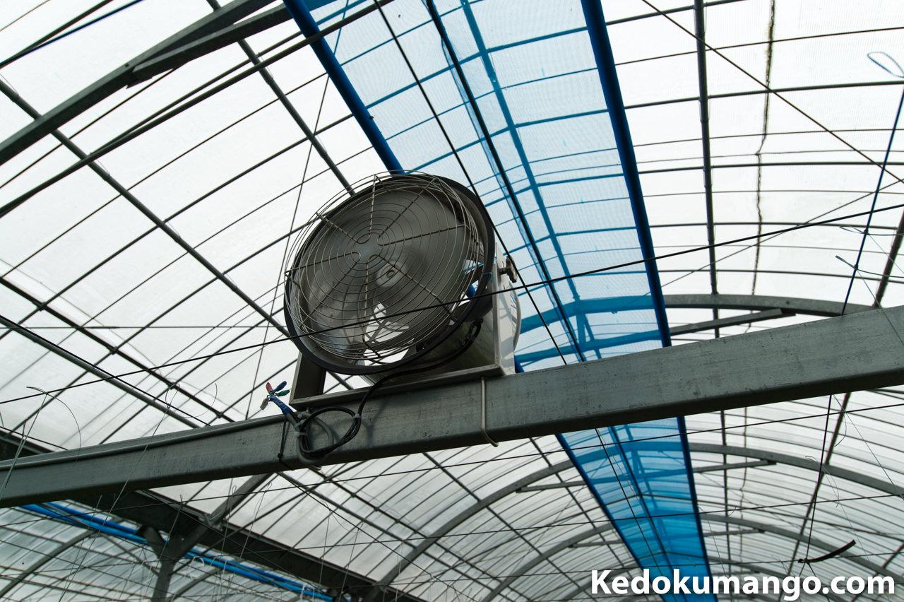 ビニールハウス内の循環扇の様子-接写