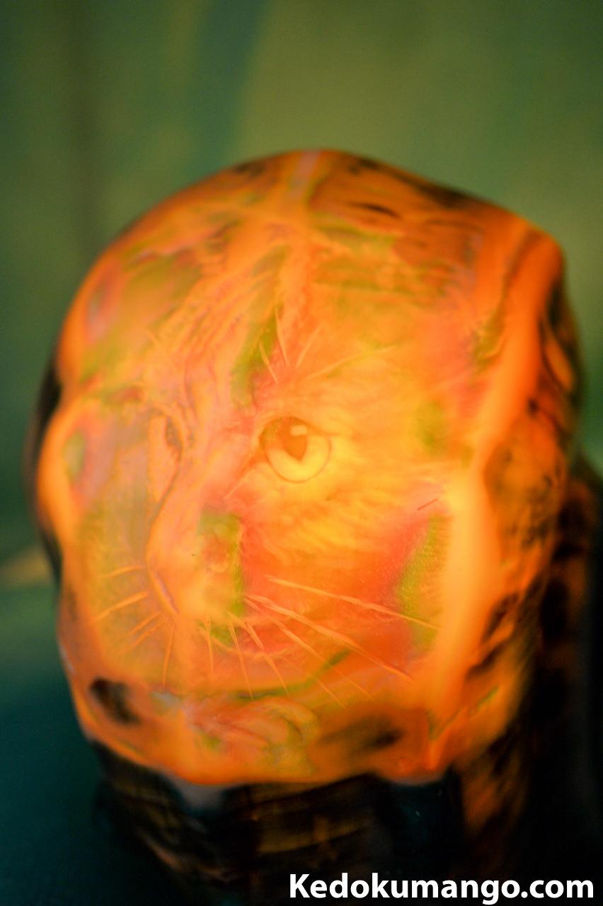 猫(ネコ)が描かれた夜光貝のランプシェル-4