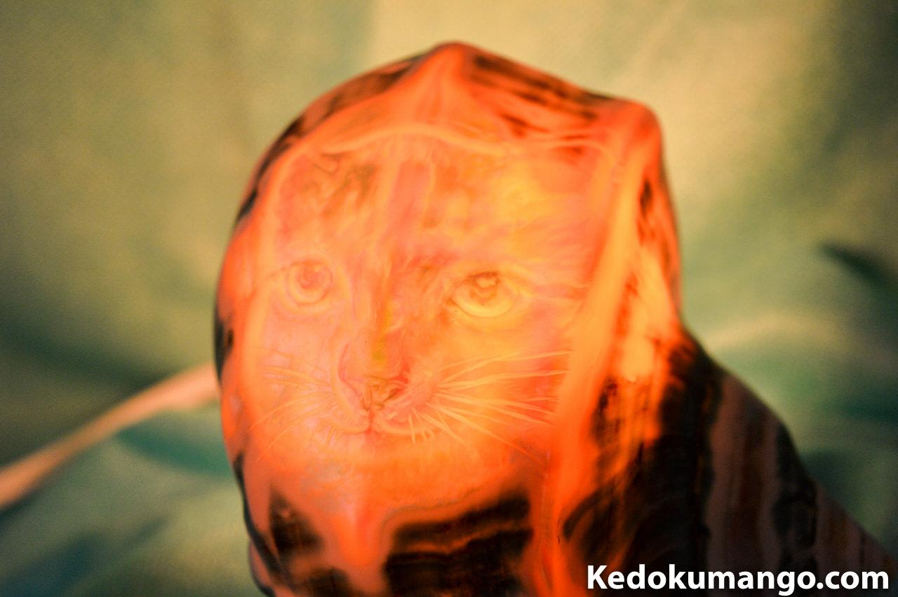 猫(ネコ)が描かれた夜光貝のランプシェル-5