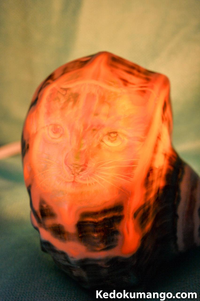猫(ネコ)が描かれた夜光貝のランプシェル-6