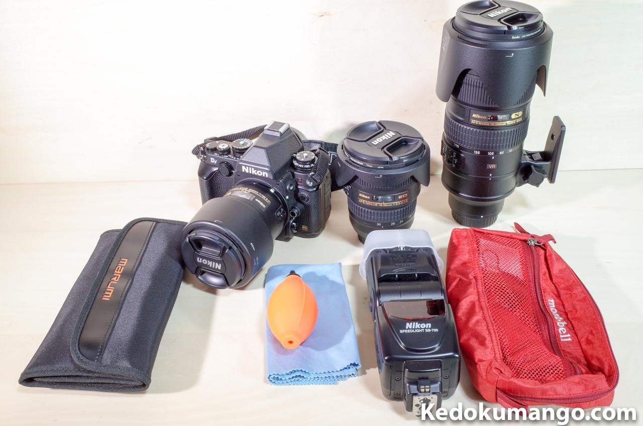 持ち出すカメラ機材