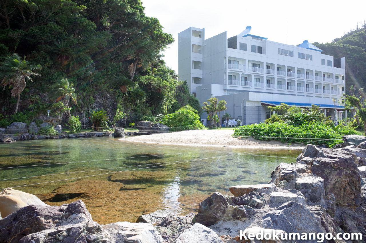 山羊島ホテルに設けられた砂浜