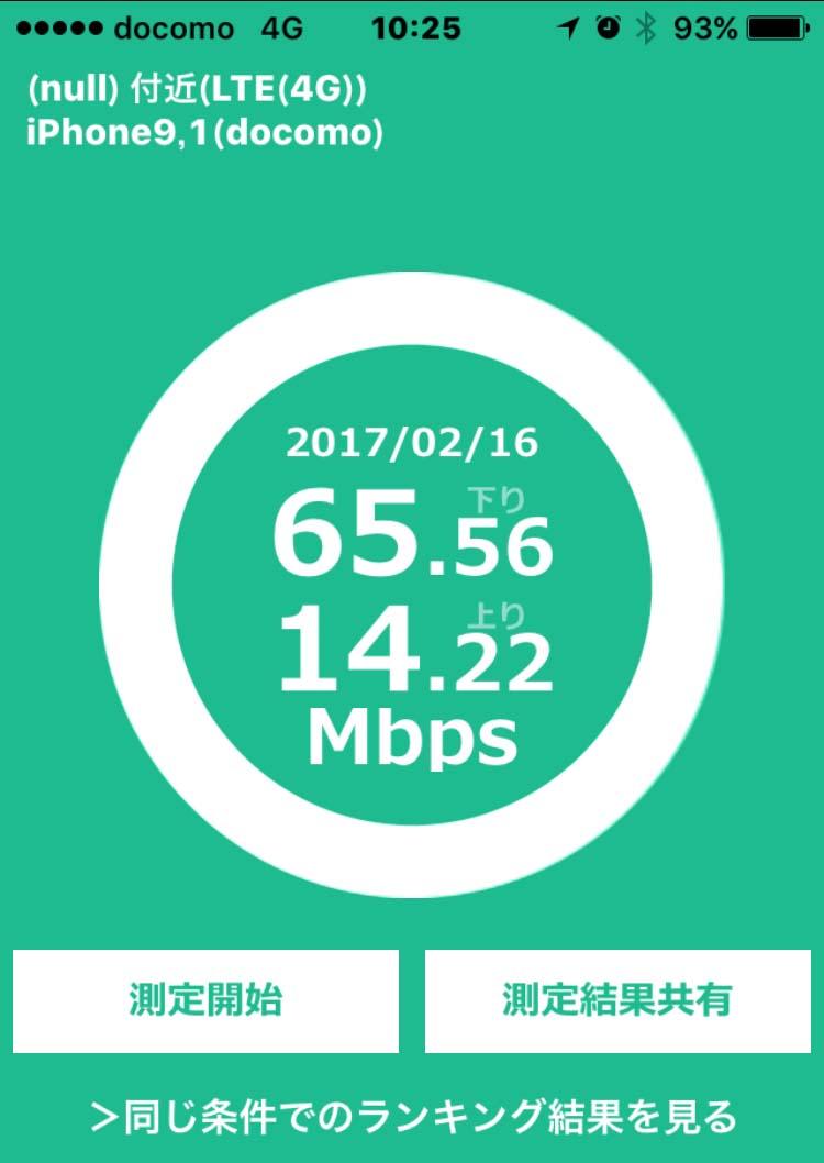 iPhone7+Docomo回線での通信速度