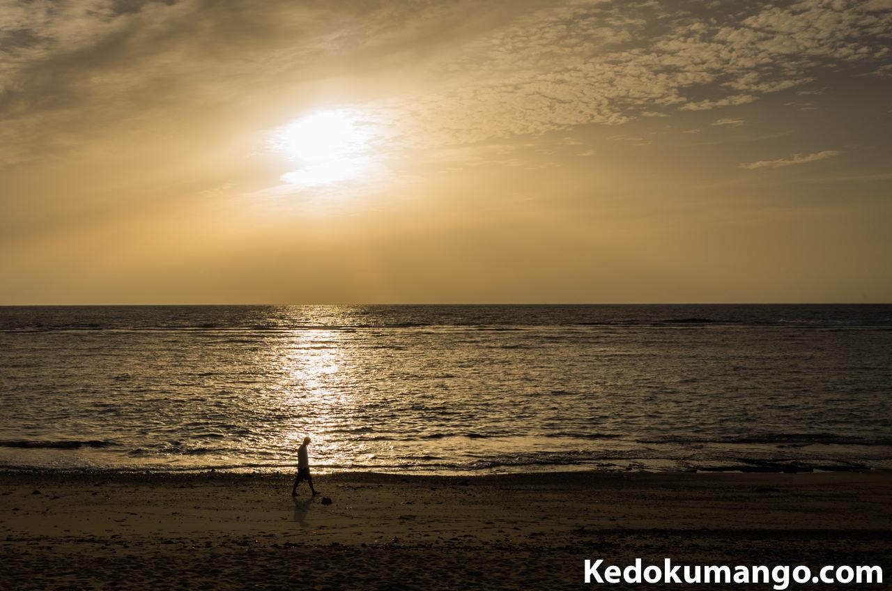 大浜海岸での夕陽