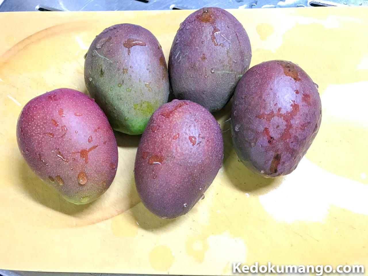 摘果したマンゴーの果実