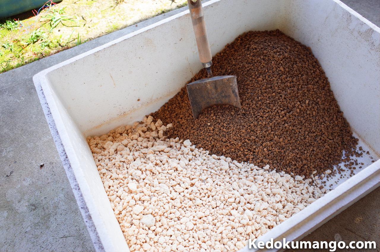 容器に移した購入土