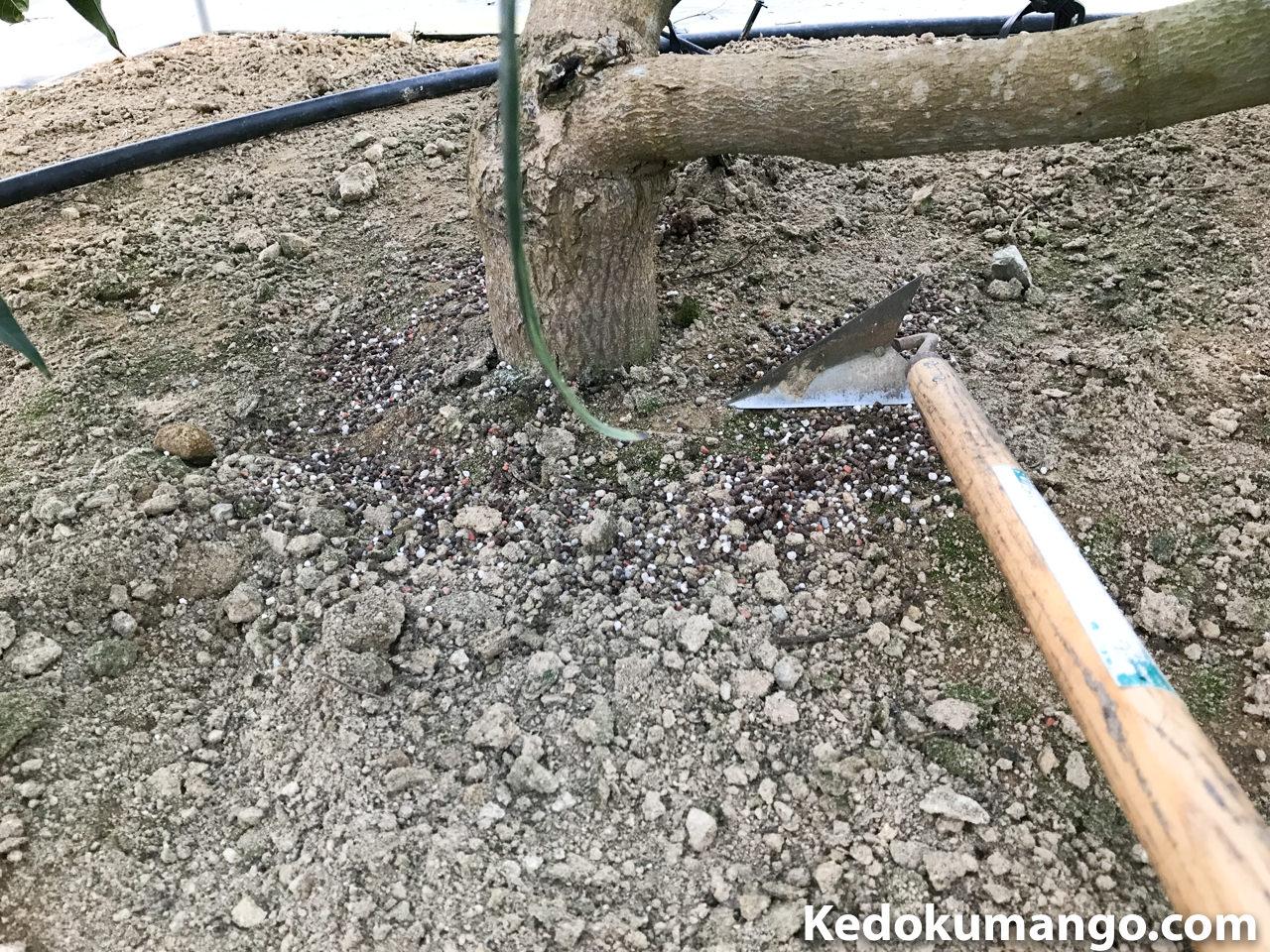 肥料と土の混合の様子