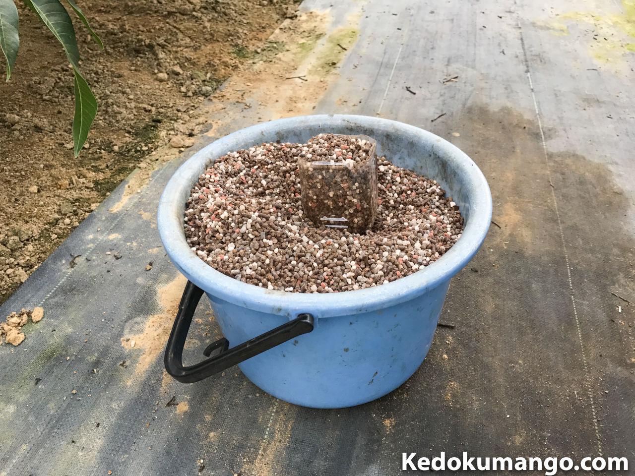 バケツに移した配合肥料とペットボトル